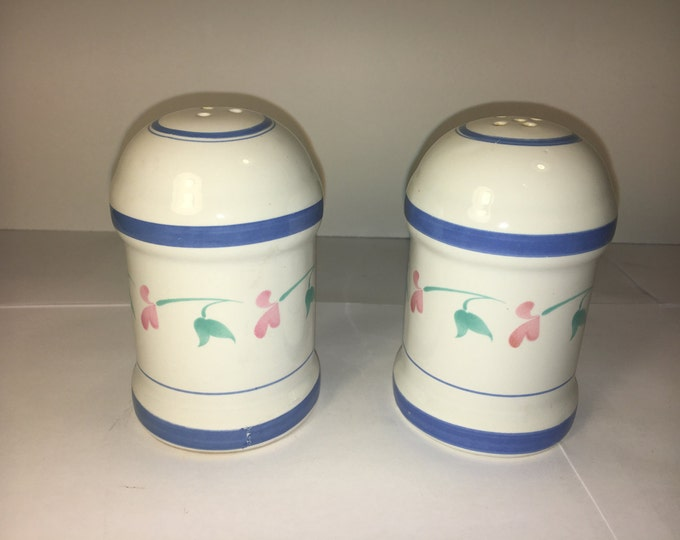 Vintage Stoneware Shakers, Country Dinnerware, Ceramic Kitchen Decor, Oriental Salt & Pepper Shakers, White Blue Rings Green and Pink Leaves
