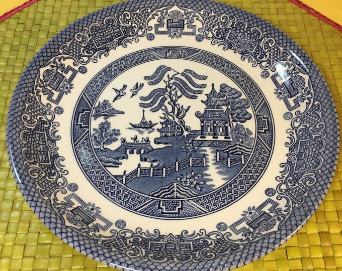 Vintage Biltons England Willow Blue Plate, Oriental Portrayal Life, Blue & White Dish, Decorative Dinnerware, Asian Inspired