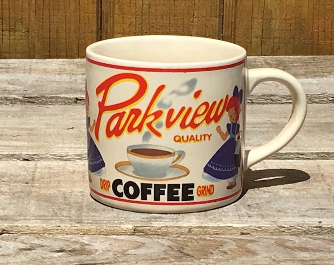Vintage Coffee Grind Mug, Westwood Parkview Blue Cup, Advertising Collectible, Ceramic Kitchen Mug, Blue White Dinnerware Mug