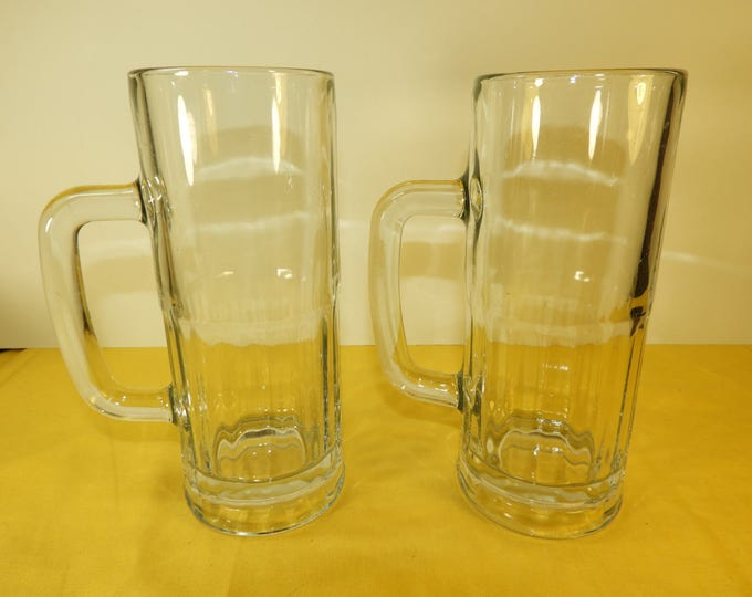 "Vintage Libbey Tall Glass Mugs (2), Two 8"" Libbey Tall Mugs, Heavy Libbey Glass Mugs, Retro 70's Libbey Glass Mugs"