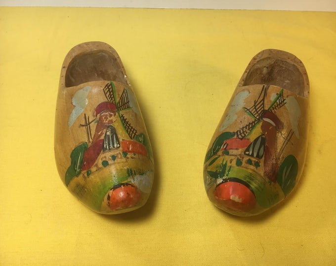 Vintage Wooden Clogs, Dutch Collectible, Carved Wood Shoes, European Culture, Collectible Holland Souvenir, Home Decor
