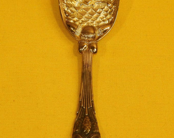 """Vintage Pineapple Spoon, Excellent Condition Silver Plate Serving Spoon, Ornate Decorative Pineapple Acorn Spoon, Made in China, 5 7/8"""" Long"""