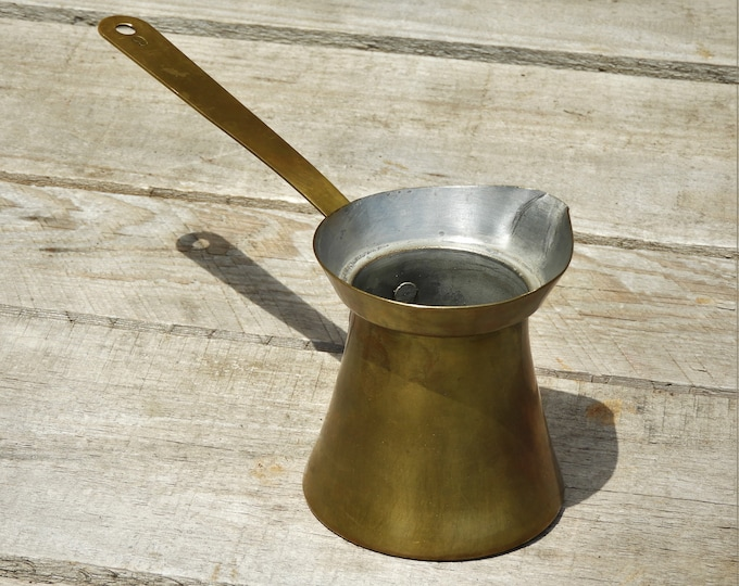 Vintage Brass Ladle, Wall Hanging Kitchen Decor, Metal Sauce Pourer, 6 Hot Liquid Dispenser, Candle Wax Filler, Bottle Loader