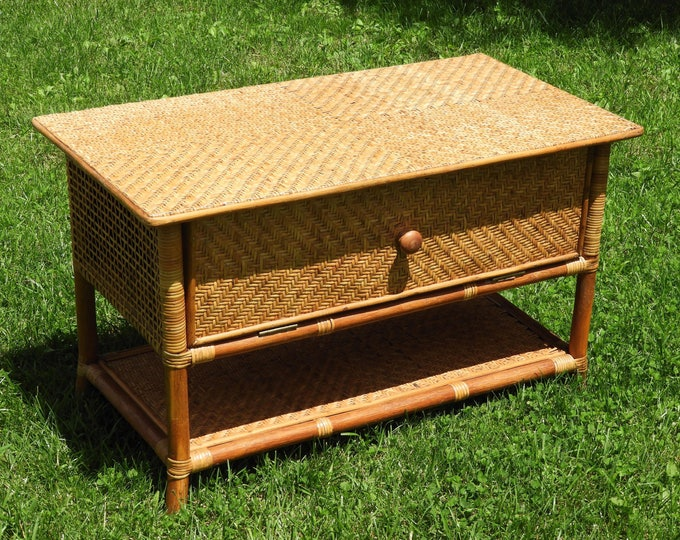 Vintage Rattan & Cane Accent Table, Golden Brown Stand, Woven Wood TV Stand, Storage Entertainment Center, Decorative Bedroom Furniture