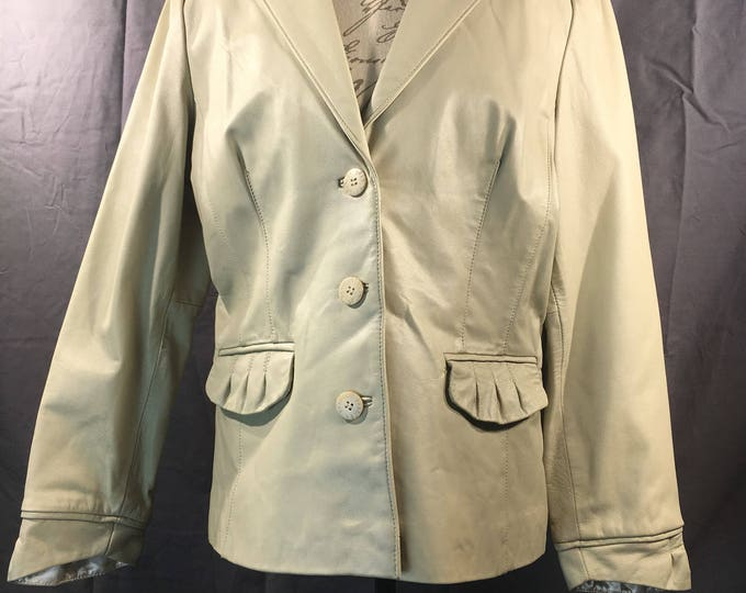 Vintage Women's Leather Jacket, Bradley Bayou Size Large 100% Genuine Leather, Beige White Decorative Coat, Button Down Women's Clothing