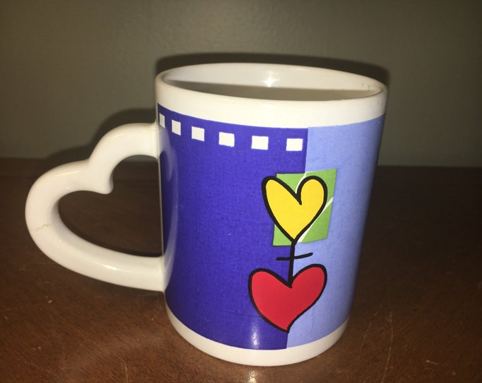 """Heart Handle Blue Light Blue Mug Cup w/ Yellow Red Hearts 3.75"""" tall"""