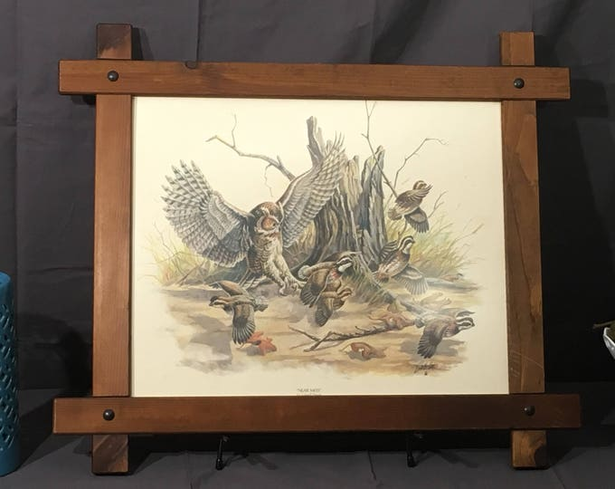 Vintage Wildlife Print, Near Miss by Lowell Davis, Brown White Decorative Picture, Collectible Art, Solid Wood Frame Design,Owl Wall Hanging