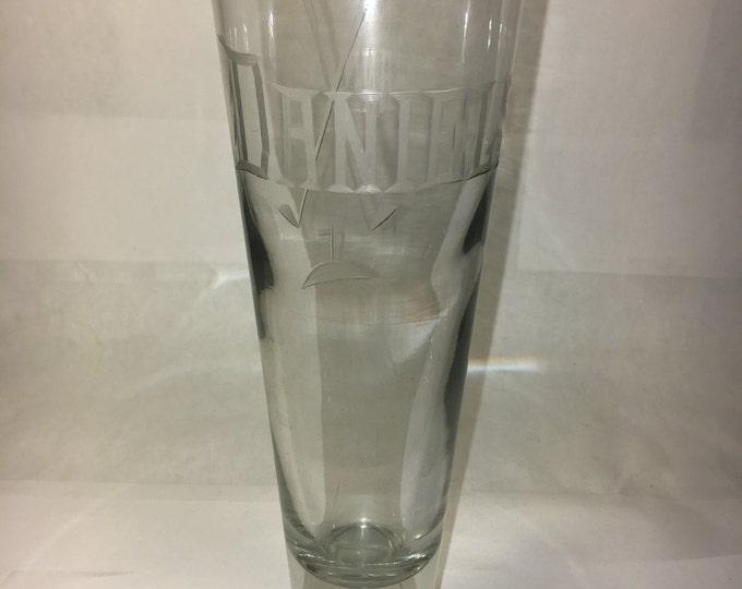 """Golf Decorator Glass Vase Mug Daniels Name Golf Clubs 9 3/8"""" tall Wide Base"""