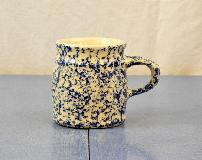 Vintage Spongeware Mug, Friendship Pottery, FP USA Stoneware, Blue Ceramic Cup, Kitchen Decor, Roseville Ohio, Collectible Dinnerware