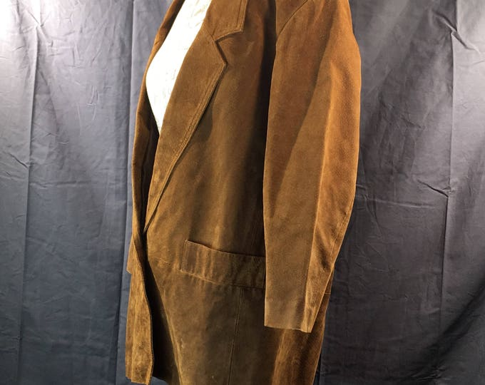 Vintage Hunters Run Coat, Mens Sports Coat, Suede Leather Sport Coat, Brown Leather Jacket, Mens Fall Winter Clothing, Gold Retro Suede Coat
