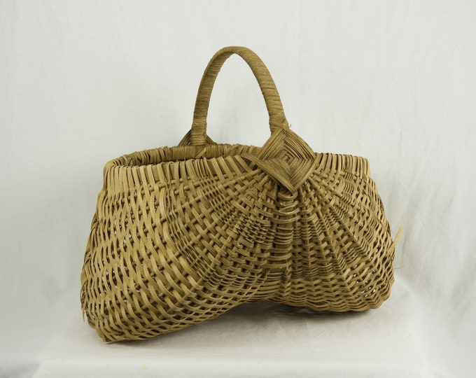 Vintage Buttocks Basket, Woven Rattan, Wicker Wood, Fan Pattern, Gold Brown, Home Decor, Folk Art, Two Tone, Wooden Handle, Large MLT 84