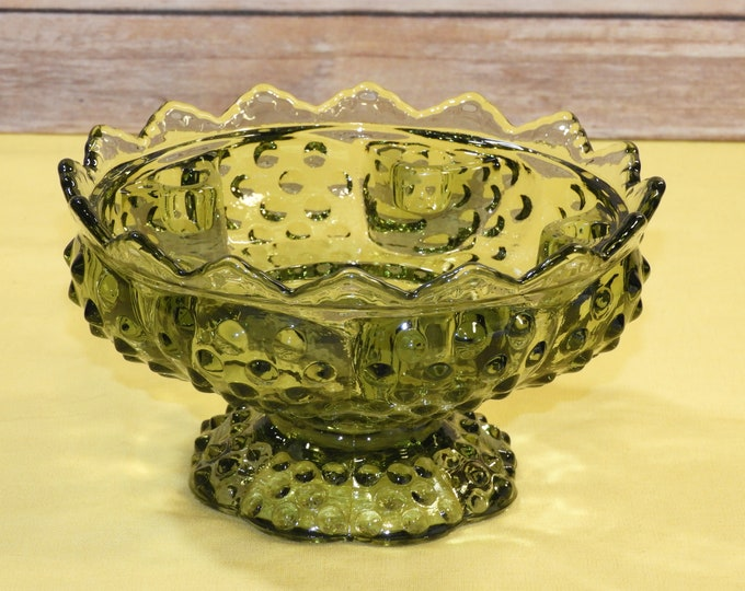Vintage Fenton Candle Holder, Green Hobnail Glass Candelabra, Round Glass Decoration, Decorative Entryway Key Dish, Wavy Vanity Ring Dish