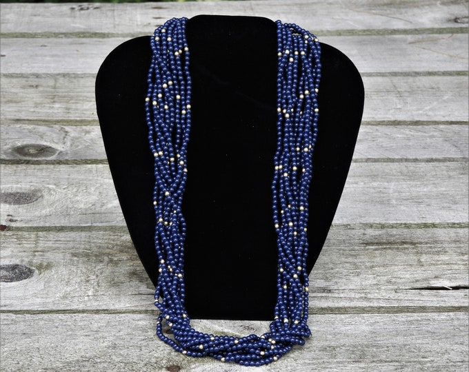 Vintage Blueberry Necklace, Multi Strand, Gold Bead, Beaded Jewelry, Dark Blue, Silver Ends, Locking Clasp, Fashion Chain