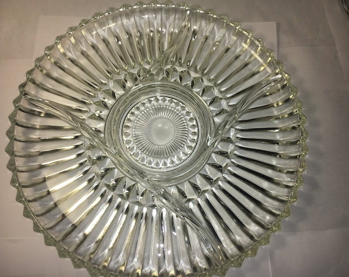 Vintage Sawtooth Platter, Glass Serving Plate, 5-Section Serving Platter, Indiana Glass Tray, Platter & Round Dip Bowl, Decorative Glass