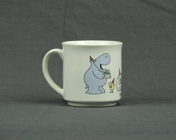 Vintage Birthday Mug, Coffee Cup, Hippo Birdie Two Ewes, Sandra Boynton, White Stoneware, Kitchen Decor, Home Decoration, Drinkware Gift