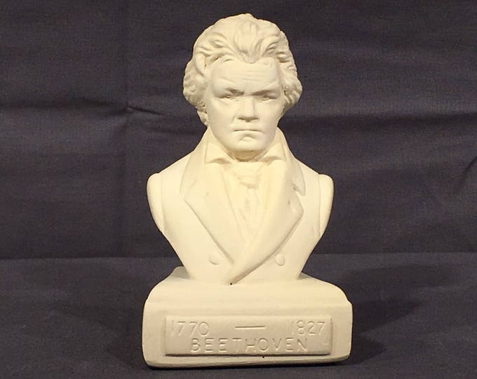 Vintage Beethoven Bust, Willis Music Co, Decorative Composer Statue, Musicians Art Gift, Music Director Memorial, White Ceramic Statue