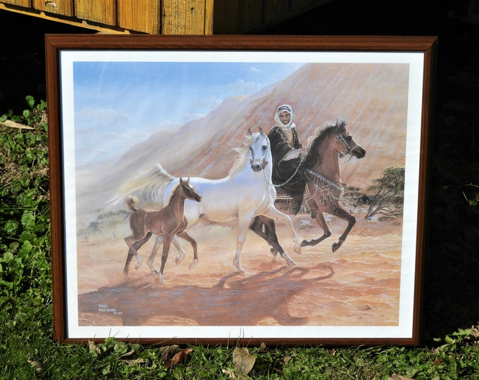 Vintage Arabian Print, Mary Haggard 1987, Framed Horse Art, Wall Hanging Decor, Middle East Decorations, Brown Equestrian, White Stallion