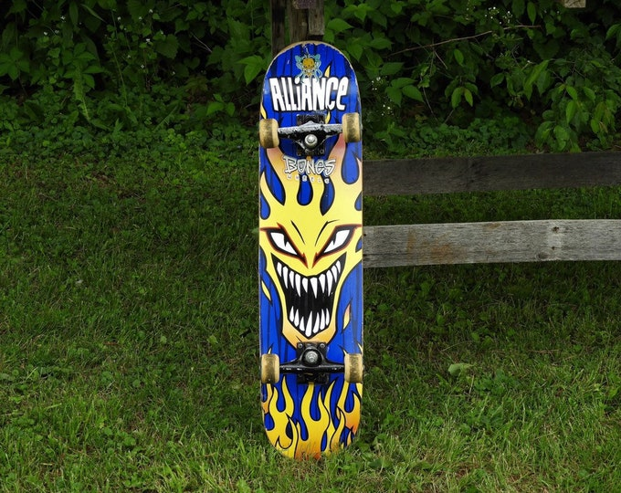 Vintage Skateboard Wall Art, Rare Alliance Board, Blue w Yellow Flames, Street Double Kick, Rustic Distressed, Hanging Decor, Street Surfer