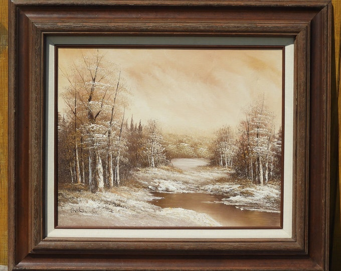 Vintage Winter Snow Painting, Antonio Oil on Canvas Art, Wooden Frame Picture, Brown & White Winter Wonderland, Wall Hanging Decor