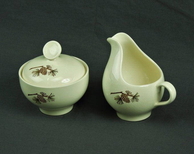 Vintage Stetson China, Creamer & Sugar Bowl, Off White Eggshell, Pine Cone, Marcrest Dinnerware, Home Decor, Collectible Pottery