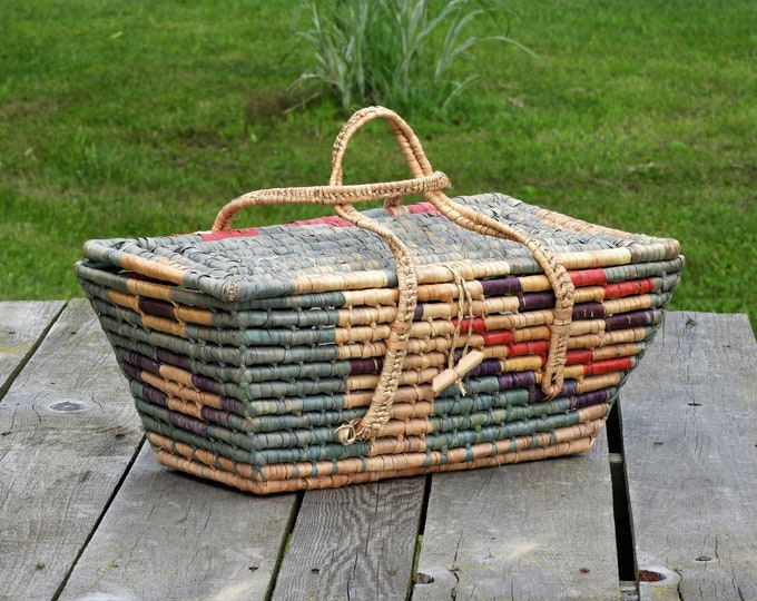 Vintage Mexican Coil Basket, Trunk Style, Southwestern Home Decor, Green & Gold, Purple w Red, Rectangular Shape, Woven Handles, Locking Lid