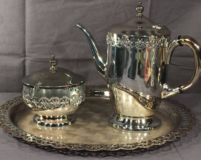 Vintage Silver Tea Set, Decorative Silver Plated Tray Teapot Sugar Bowl, Collectible Dinnerware, Tea Party Gift Set, Silverplate Servingware
