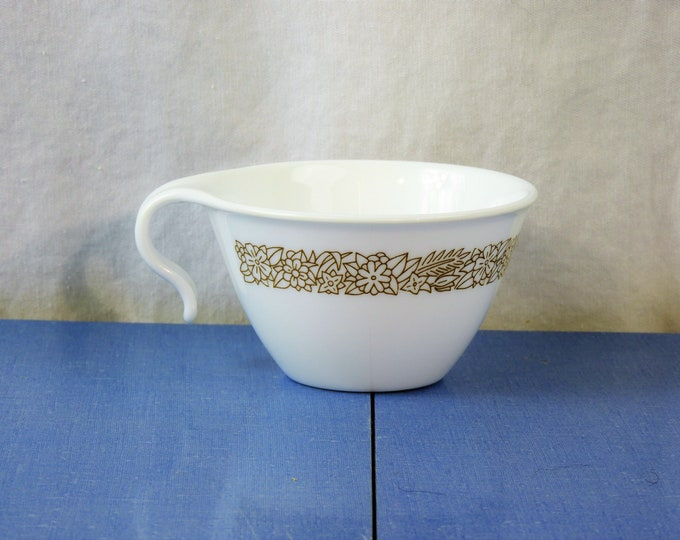 Vintage White Hook Cup, Woodland Brown, Corelle Corning, Milk Glass Teacup, Petite Coffee Mug, Collectible Dinnerware, Kitchen Decor