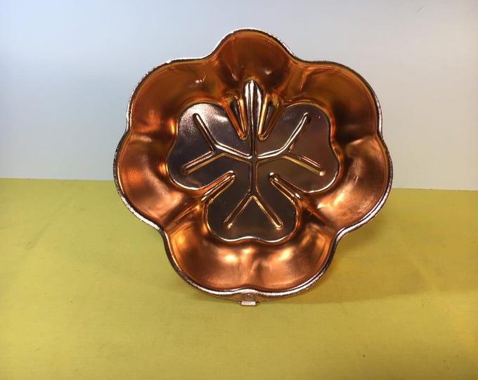 Vintage 3 Leaf Copper Clover Cake Jello Mold, Copper Cake Mold, Clover Leaf Mold, Wall Hanging Decorative Mold