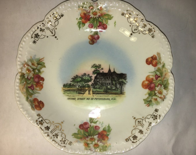 Vintage Florida Plate, Chinaware, Collectors Plate, Second St. No Street St. Petersburg Florida Souvenir, Gold Trim Dish, Scalloped Rim