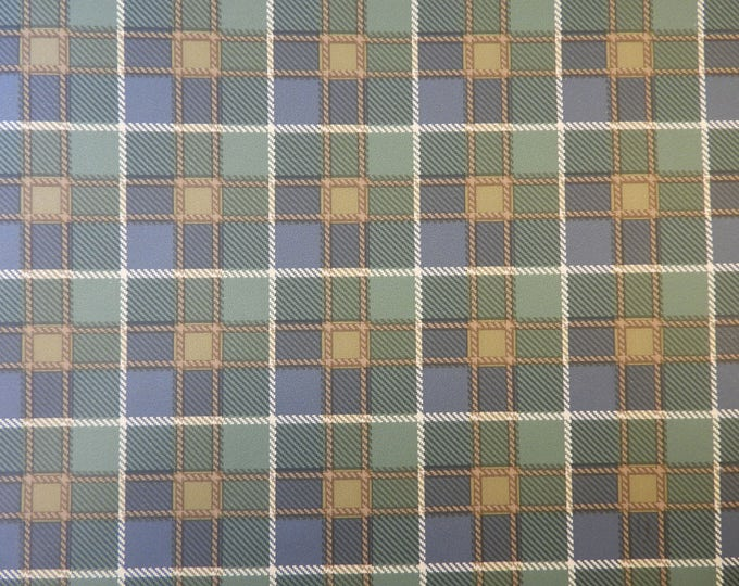 Vintage Blue Wallpaper, Geometrical Decor, Plaid Squares, Feature Wall Paper, 56.37 Sq Ft Coverage, FSC Wall Coverings, Made in USA