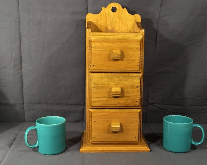 Vintage Kitchen Bins, Decorative Gold & Brown Kitchen Shelf, Wooden Storage Drawers, Country Wood Spice Shelves, Wall Hanging Drawer Bank