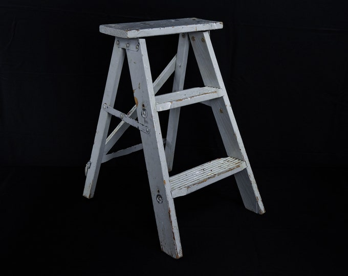 Vintage Plant Stand, Step Ladder, Distressed Gray, Wooden Steps, Industrial Chic, Entryway Decoration, Home Decor, Three Tier Shelf