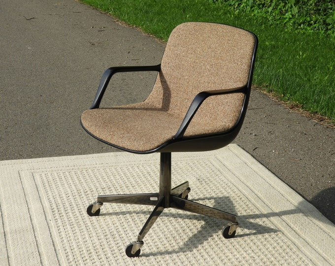 Mid Century Office Chair, Vintage Eames Style Chair, Chrome & Tweed Accent, Gold and Black Desk Chair, Modern Style Furniture