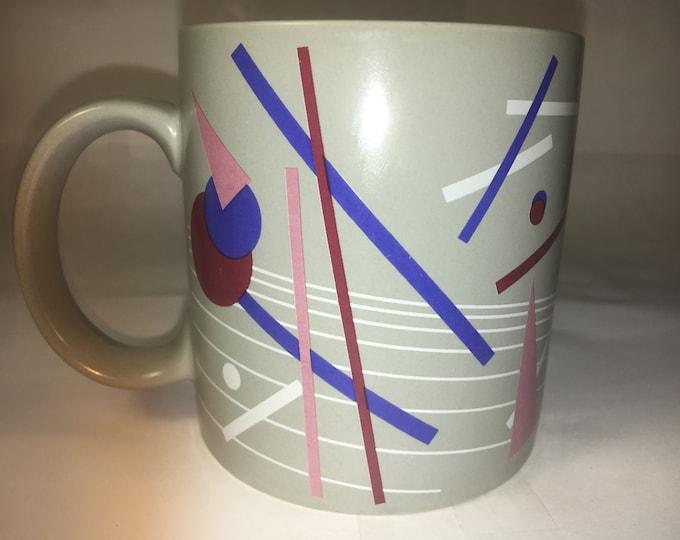 Vintage Gray Blue Mug Maroon White Ceramic Mug Artwork Dark Blue Maroon White Lines, Russ Berrie & Co. made in Korea