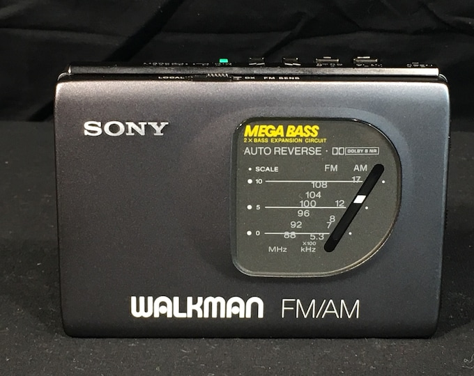 Vintage Sony Walkman, Mega Bass, WM FX50 FM AM Radio, Audio Device, Gray Portable Radio, Tape Player Not Working, Made in Japan