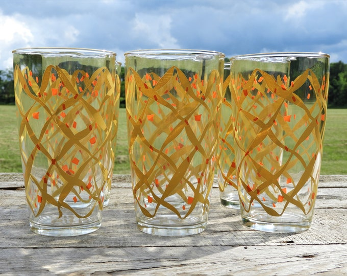Vintage Hazel Atlas Tumblers (6), Large Yellow Streamer Glasses, 24 oz Orange Confetti Cups, Decorative Dinnerware, Summertime Party Decor
