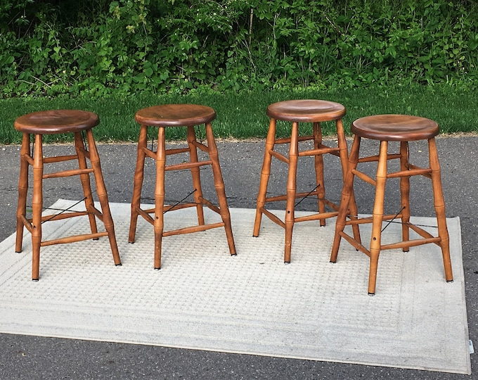 Vintage Maple Bar Stools (4), Bent Bros Stools, Bamboo Style Counter Seat, Industrial Metal & Wood Decoration, Gold Brown Kitchen Furniture
