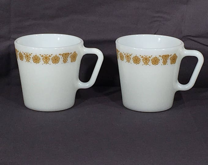 Vintage Butterfly Gold Mugs (2), Pyrex D Handle 1410 Coffee Cups, White & Gold Milk Glass Dinnerware,Decorative Coffee Mugs,Collectible Mugs