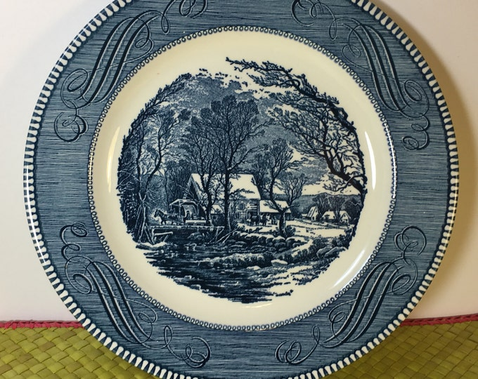 "Vintage Royal China Blue 10"" Plate, Currier & Ives ""The Old Grist Mill"" Plate, Porcelain Plate by Royal made in USA"