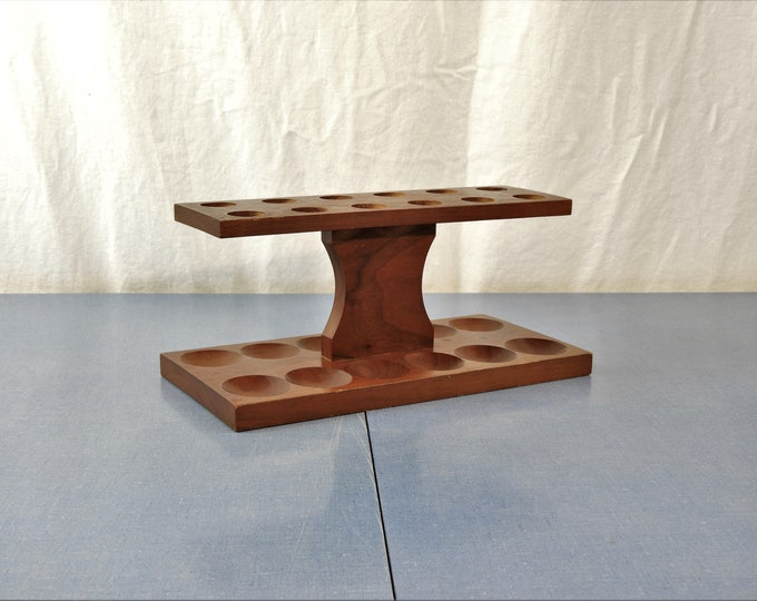 Vintage Egg Holder, Wooden Kitchen Decor, Wood Serving Stand, Table Decoration, Brown Craft Storage, Art & Painting Tray, Real Actual Wood