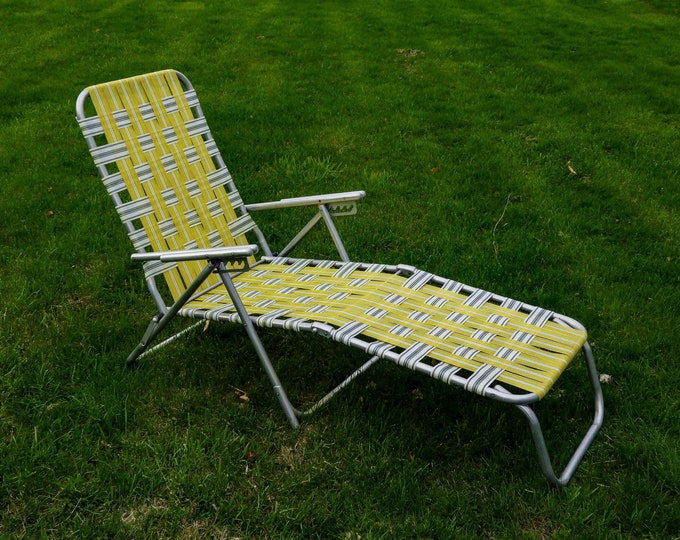 Vintage Chaise Lounge, Lawn Chair, Adjustable Recliner, Patio Furniture, Webbed Seat, Yellow & White, Folding Aluminum, Industrial Decor