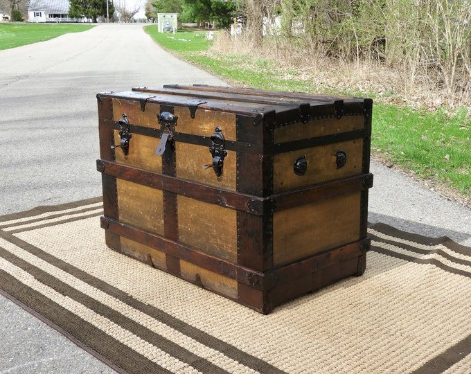 Antique Steamer Trunk, 1880s Canvas & Wood, Wooden Coffee Table, Upcycled Chest, Repurposed Locker, Home Decor, Western Decoration