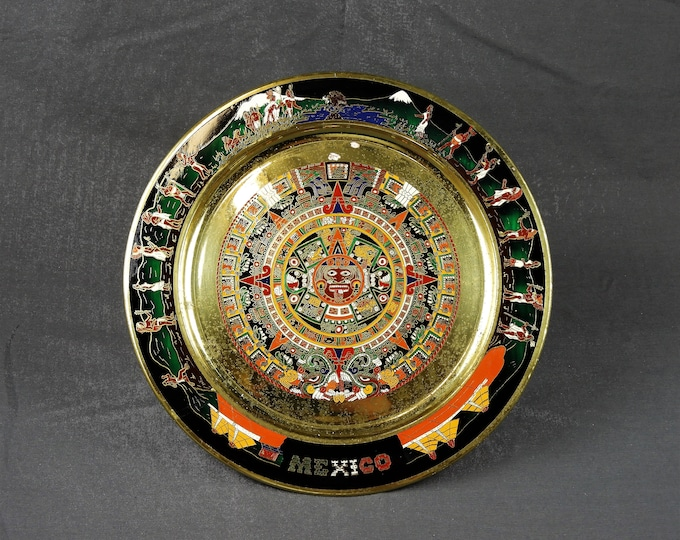 Vintage Mexico Plate, Mayan Calendar, Indian Collectible, Wall Hanging, Gold & Black, Central America, Mexican Native, Home Decor, Brass Art