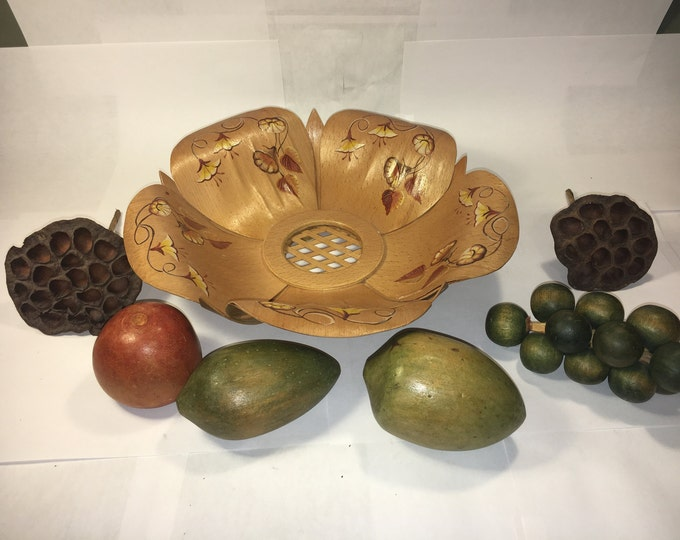 Vintage Fruit Bowl, Kitchen Decoration, Gold Wooden Bowl, Wooden Fruit Decor, Counter Top Decoration, Fruit Basket Decor