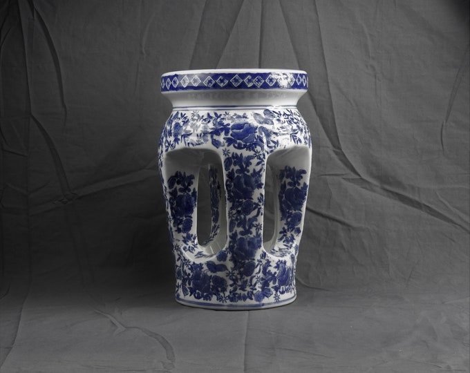 "Vintage Chinese Garden Stool, Blue & White Porcelain, Butterfly and Peonies, Geometric Scrollwork, Column Design, Home Decor, 15.5"" Stand"