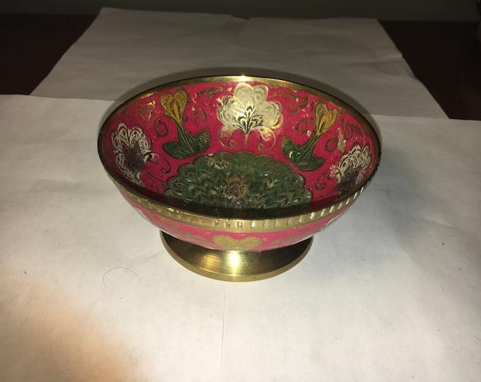 """Vintage Ornate Brass & Pink Oriental Peacock Trinket Vanity Pedestal Dish 4.25"""" across"""