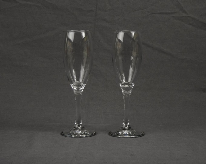 Vintage Wine Glasses (2), Champagne Flute, Libbey Glass, Clear Elongated, 1955 Mark, Circled Cursive L, Barware Stemware, Home Decor