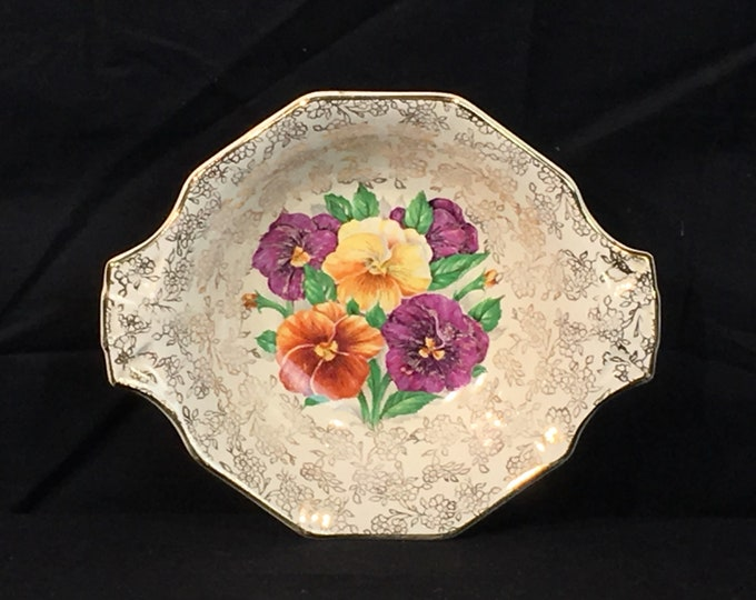 Vintage Spring Flowers Bowl, H&K Tunstall England China, 499 D Bowl, Decorative Gold Purple Dish, Collectible Chinaware, Ceramic Dinnerware