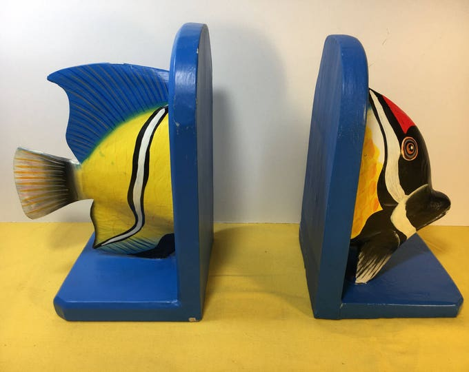 Vintage Nautical Fish Bookends, Bobbos Inc. Bookends, Blue Bookends, Wooden Nautical Bookends, Colorful Saltwater Fish Bookend, Quality Book