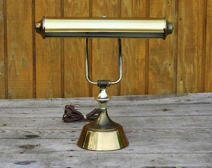 Vintage Desk Lamp, Brushed Brass Student Light, Adjustable Dual Socket Lighting, Gold Retro Piano Lamp, Decorative Accent Lamp